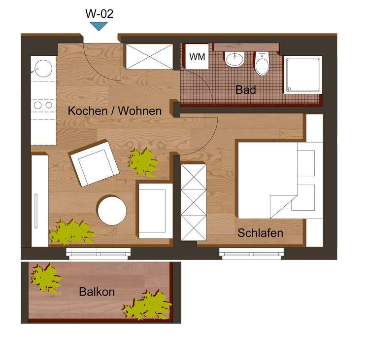 grundriss zweizimmerwohnung 35 m haus pinterest grundriss wohnung zwei zimmer wohnung. Black Bedroom Furniture Sets. Home Design Ideas