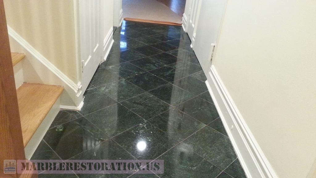 Floor Restoration Serpentine Marble Tiled Entryway Corridor After Refinishing In 2020 Floor Restoration Marble Restoration Black Marble Tile