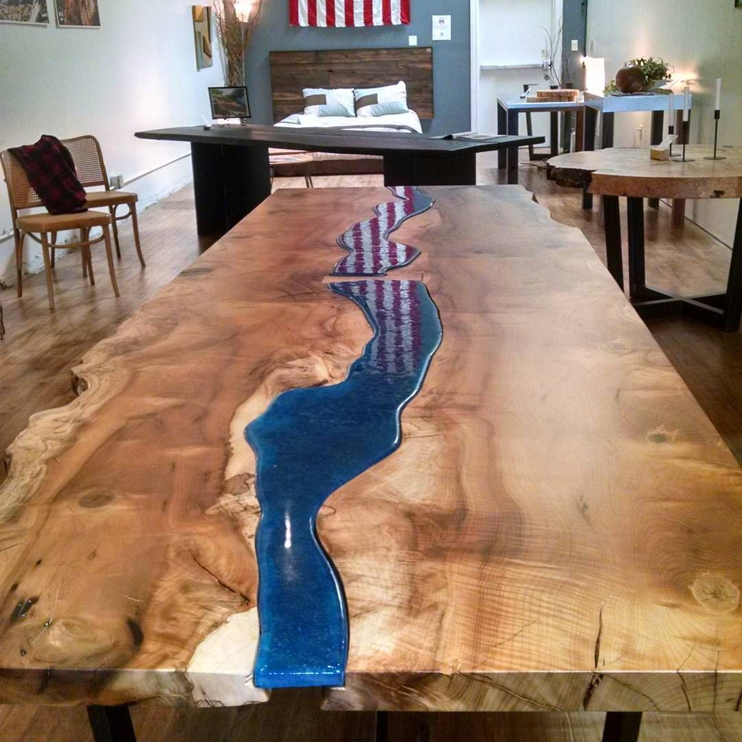 Myrtle Live Edge Table With Blue Glass Insert Steel Base Located