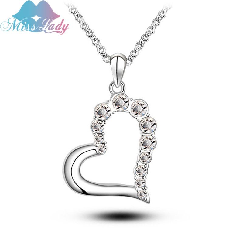 18K Rose Gold Plated ethnic jewelry Austrian Cute Crystal Heart love gifts Pendant Necklaces Wholesales Fashion for women Y5147