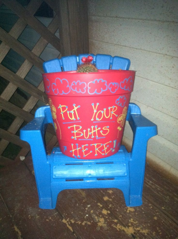 Cute Outdoor Ashtrays | Out Door Ashtray! Flower Pot (4.97 At Walmart)  Filled