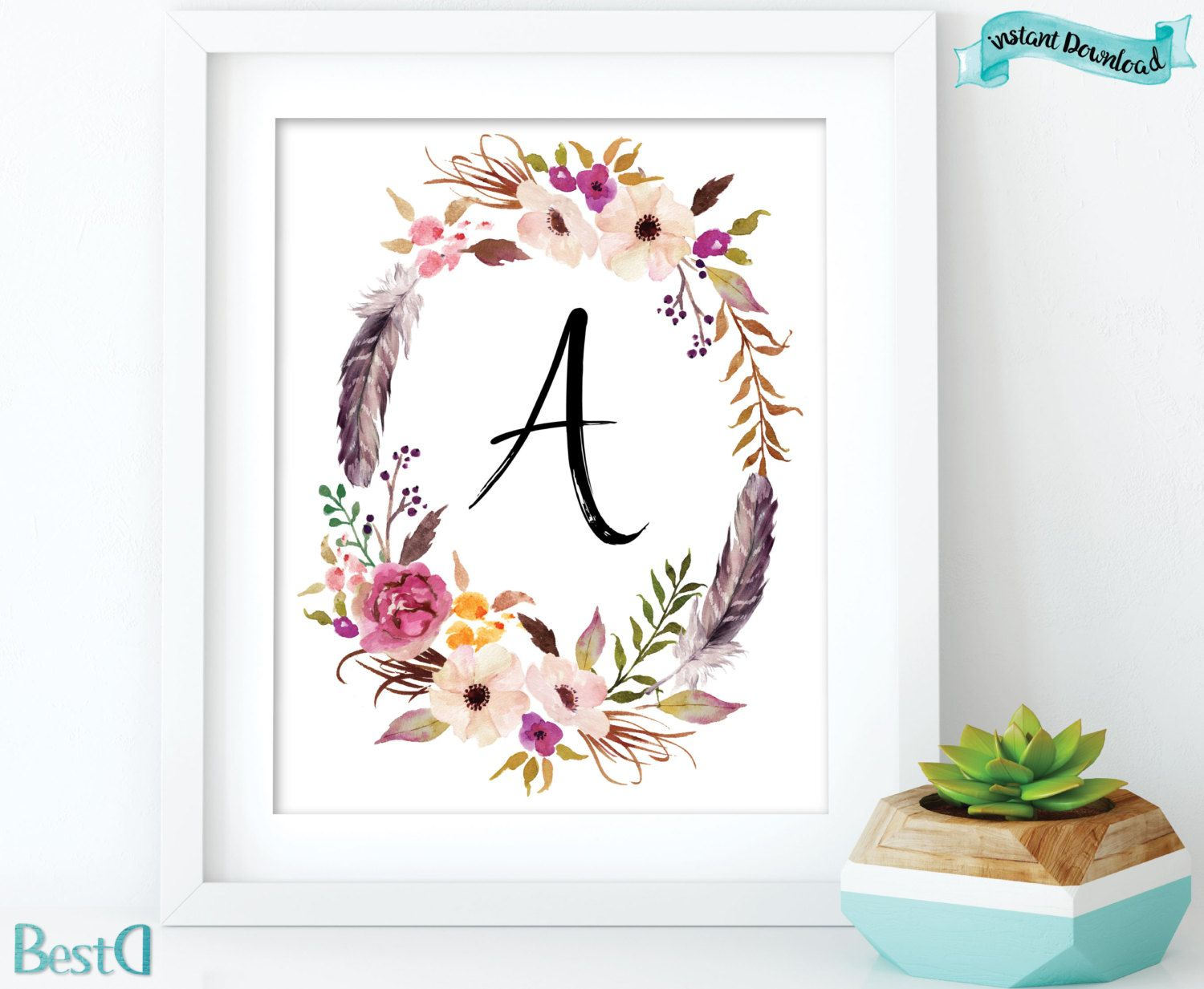 Baby Monogram Wall Decor Monogram Letter Printablewatercolor Flowers And Feathers Wreath