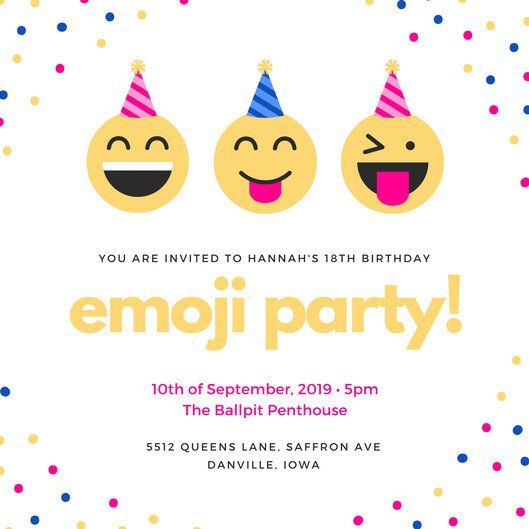I Like The Simple Design And Birthday Hats On Emojis Also Confetti But Bottom Right Left Border Would Not Work For