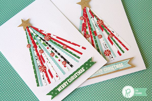 Turn that scrap pile into something beautiful this holiday season! Make sweet Christmas cards with scraps of paper using Eva's tutorial! PebblesInc.com