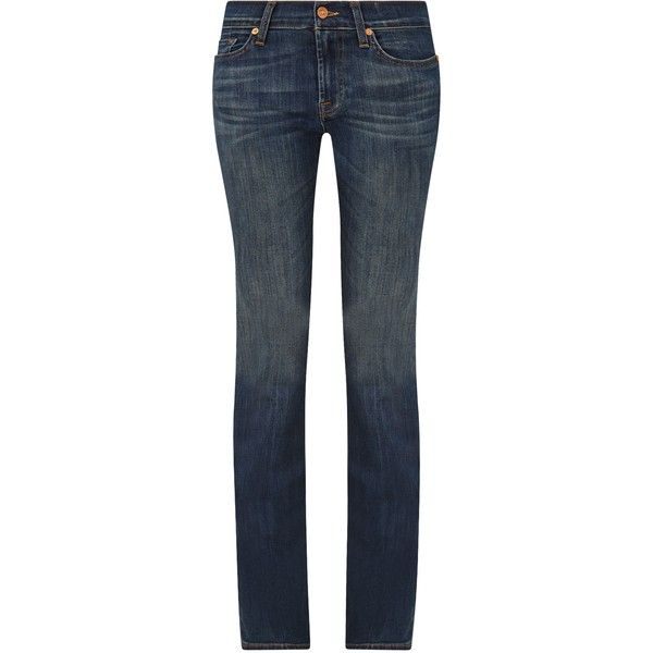 """7 For All Mankind Mid Rise Bootcut Jeans 34"""", Brooklyn Dark ($280) ❤ liked on Polyvore"""