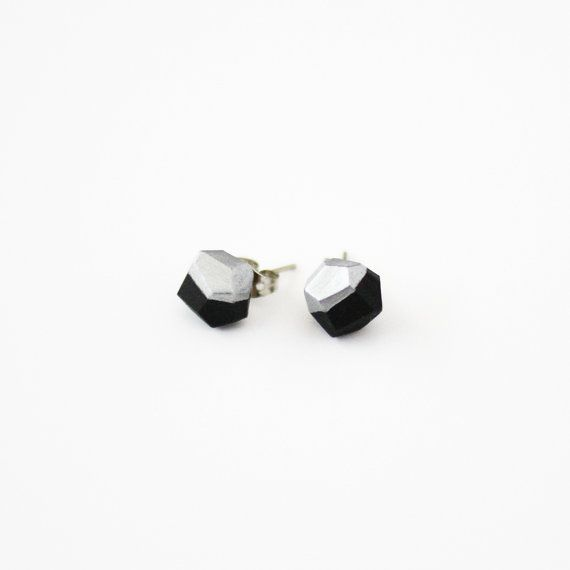 black silver dipped earrings via AMM Jewelry