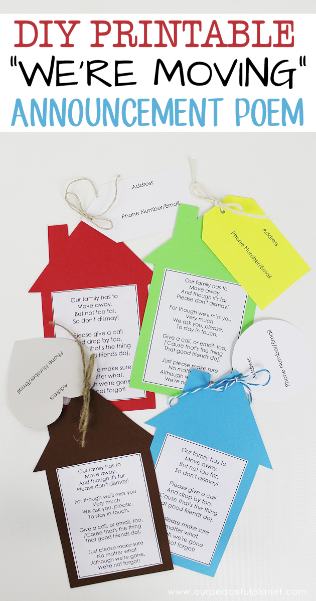 Printable Moving Announcements With Free Poem Moving Announcements Moving Cards Moving Away Gifts