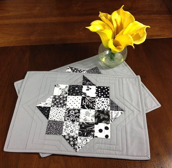 Black White Grey Placemats Pair Of Quilted Placemats Etsy Grey Placemats Modern Table Decor Placemats