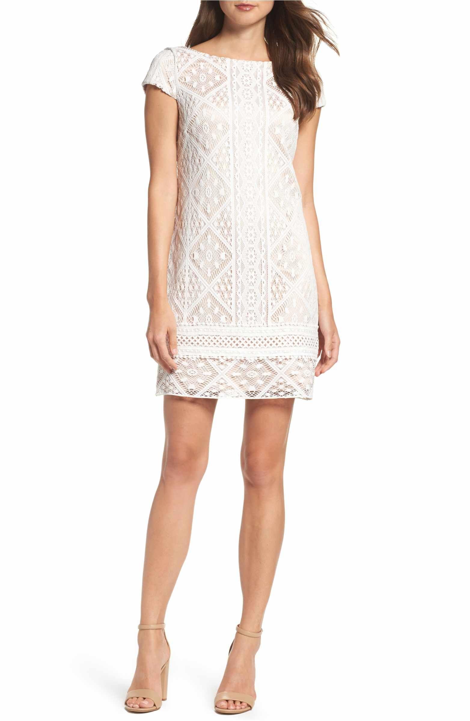Vince Camuto Lace Shift Dress Regular Petite Nordstrom Lace Shift Dress White Lace Cocktail Dress White Dresses For Women [ 2400 x 1564 Pixel ]