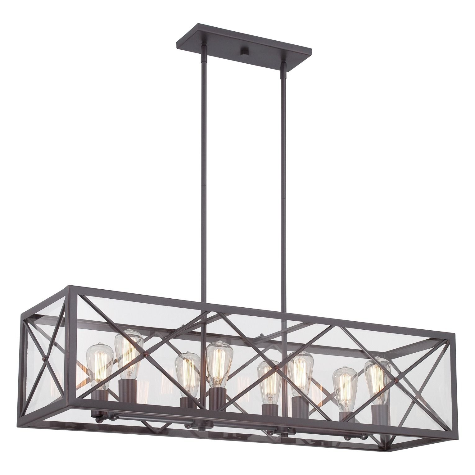 Eight side by side lights and a box frame design make this linear high line satin bronze eight light linear chandelier designers fountain island pendant lig aloadofball Choice Image