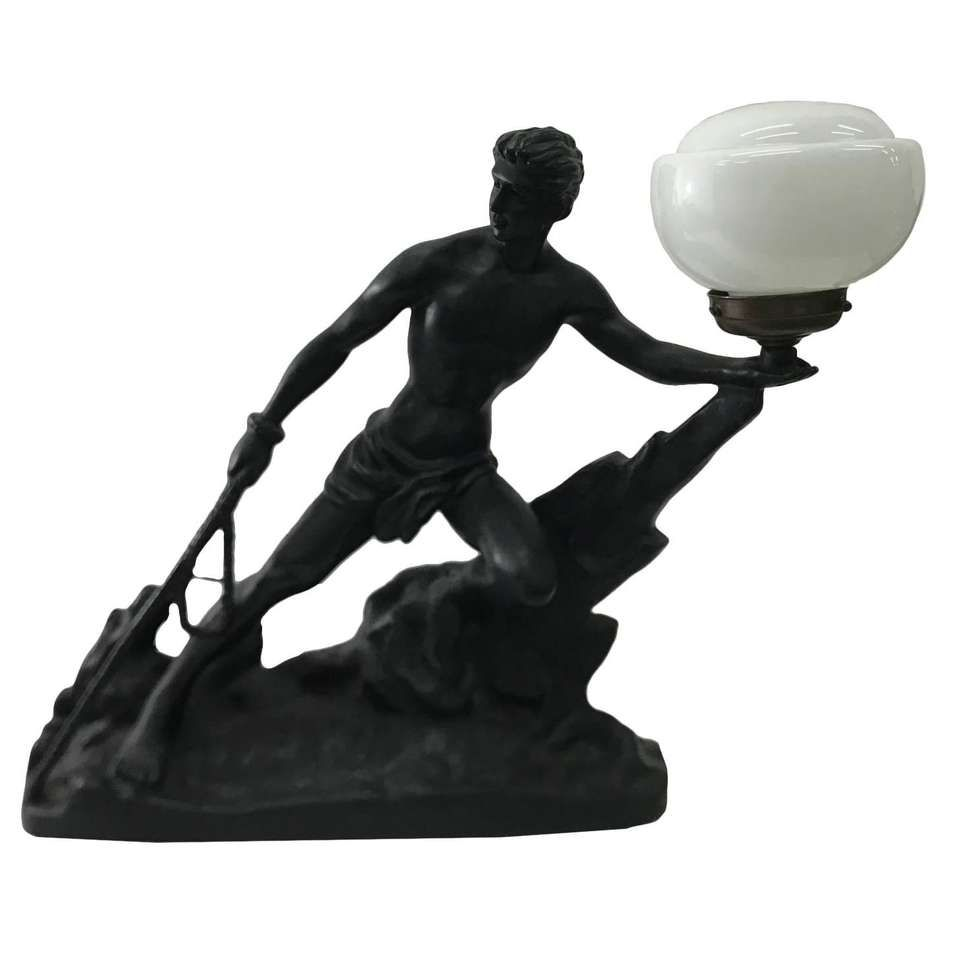 Table lamp, nude woman with glass shade, second half 20th