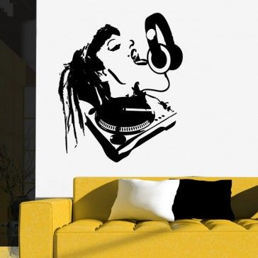 Girl dj headphones wall decal wall art stickers musicians music