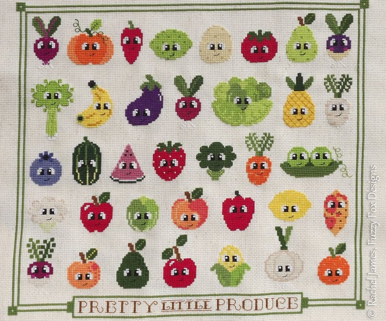 c337ceaa559b2 Fruit and Vegetable Cross Stitch Pattern PDF | Pretty Little Produce ...