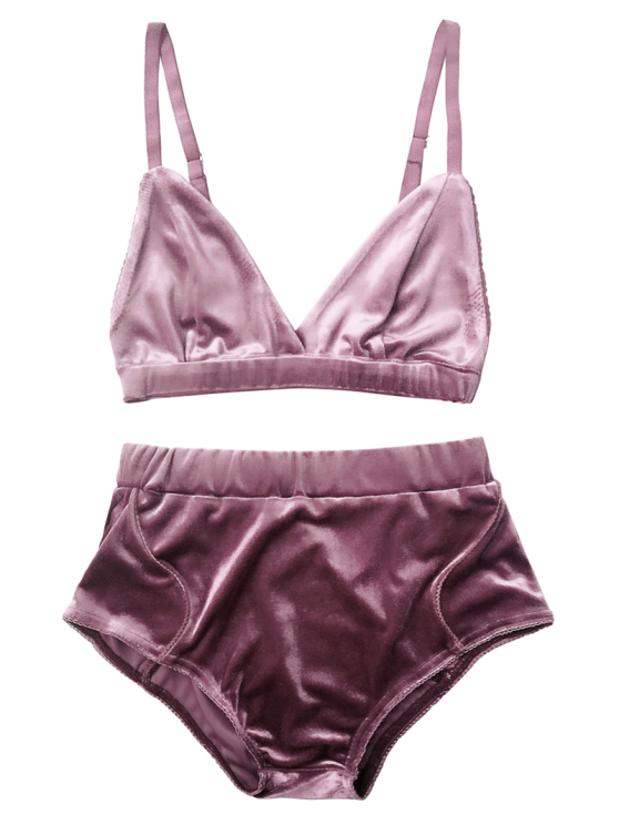 86c122eb69 High Waist Velvet Bra Set - PURPLE S