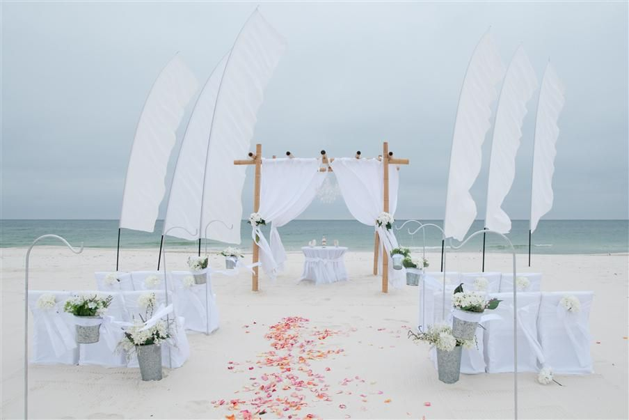 Beach Wedding Decor And Decorations Gulf Shores Orange Beach Wedding Package Wedding Beach Ceremony Beach Wedding Ceremony Decorations Beach Wedding Packages