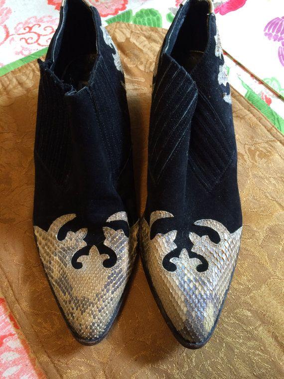 d29d73160b6d7 Vintage 80s Mens Black White Snakeskin Leather Giorgio Brutini Boot ...