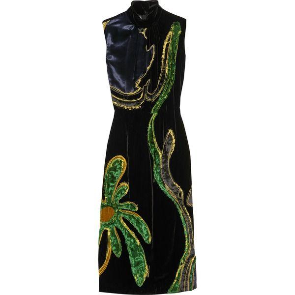 Kleid aus Samt mit Einsatz und Applikationen