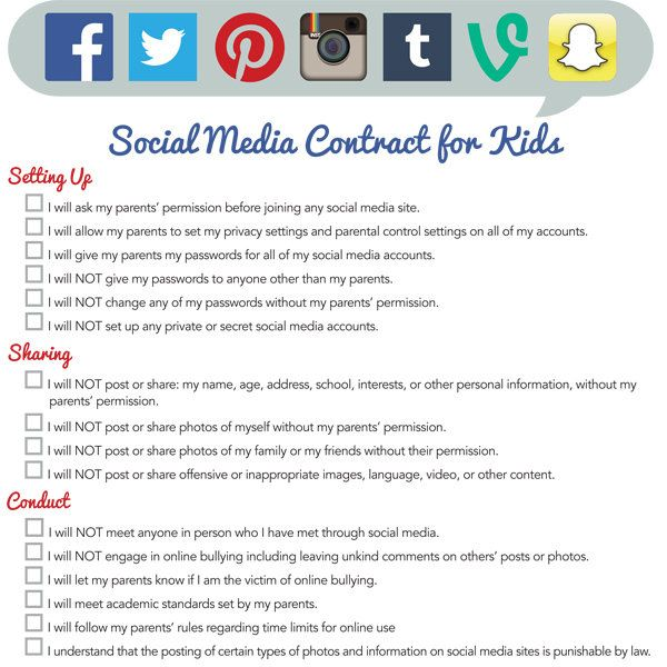 Social Media Contract for Kids Parents, Kids s and Raising kids - student contract templates