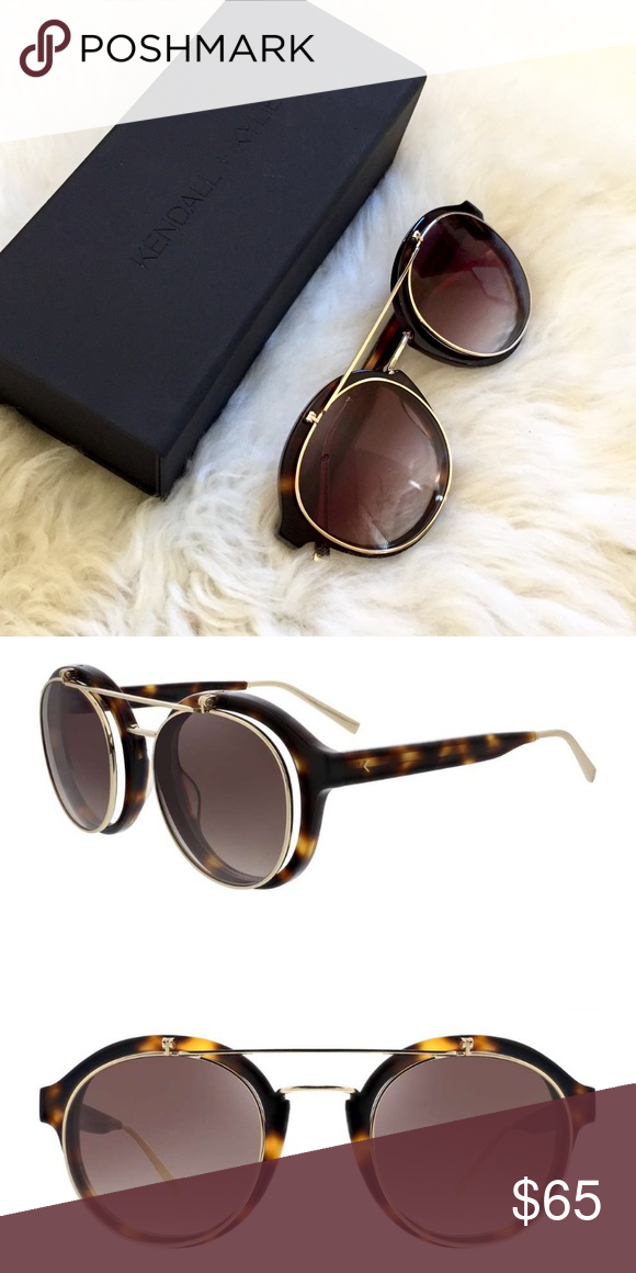 2c2c03c6a69 Kendall   Kylie Retro Flip Up Round Sunglasses New With Tags- Kendall   Kylie  Raquel Retro Round Sunglasses With Dark Tortoise Acetate Frames