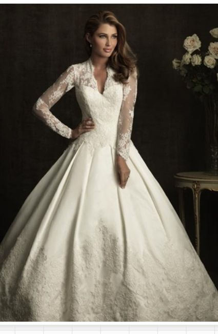 Allure Bridals Kate Middleton Inspired Long Sleeve A Line Bridal
