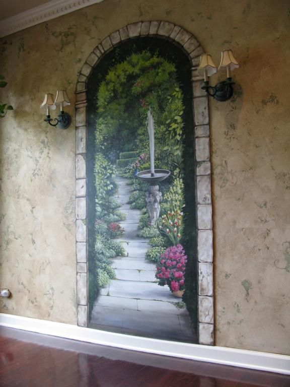 Garden wall mural ideas For more great pins go to KaseyBelleFox
