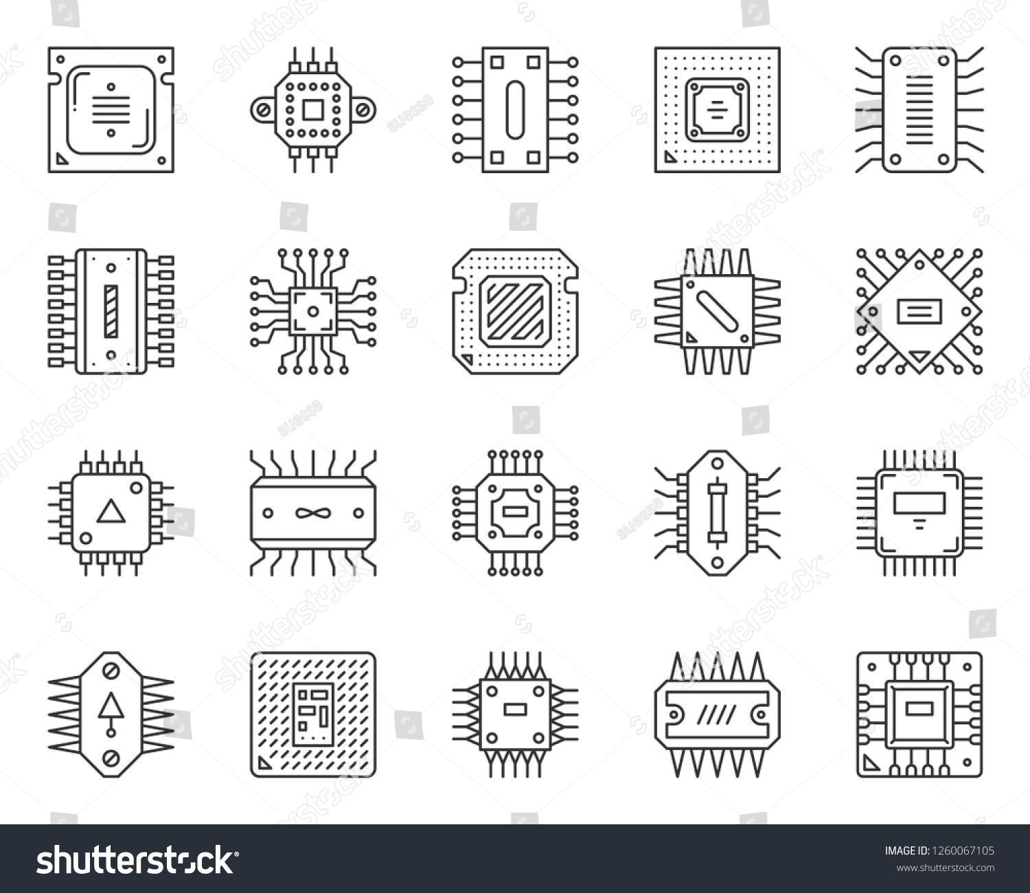 Microchip Thin Line Icon Set Outline Web Sign Kit Of Cpu Pcb Linear Icons Of Abstract Circuit Hi Tech Electronics Technology Micro In 2020 Line Icon Icon Set Icon