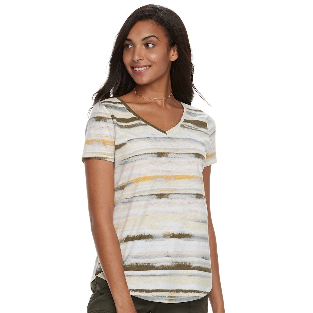 "c8989fba9 Women's SONOMA Goods for Lifeâ""¢ Essential V-Neck Tee, Size: Medium, Yellow"