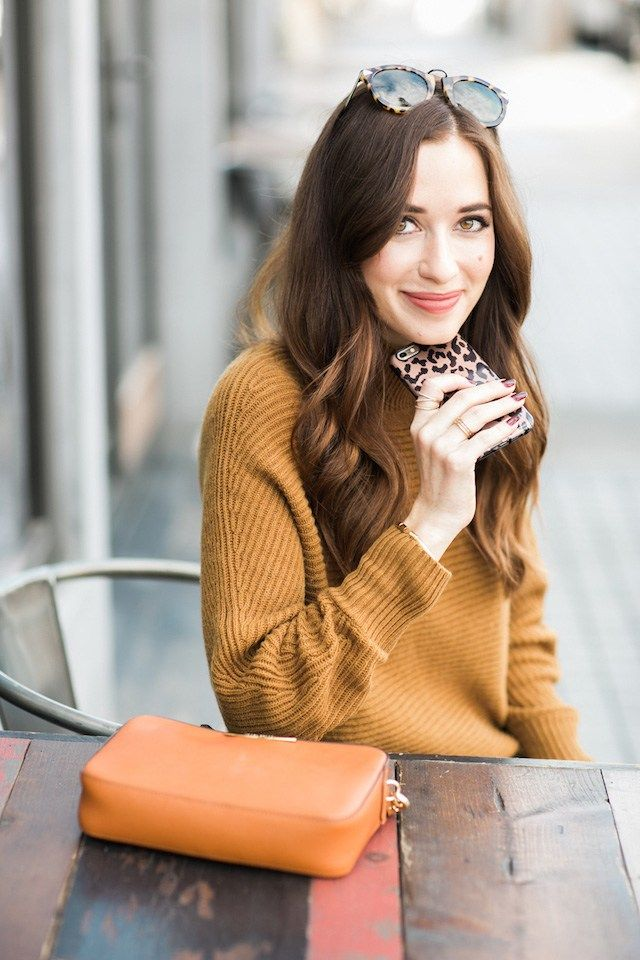 mustard sweater with leopard phone case by M Loves M