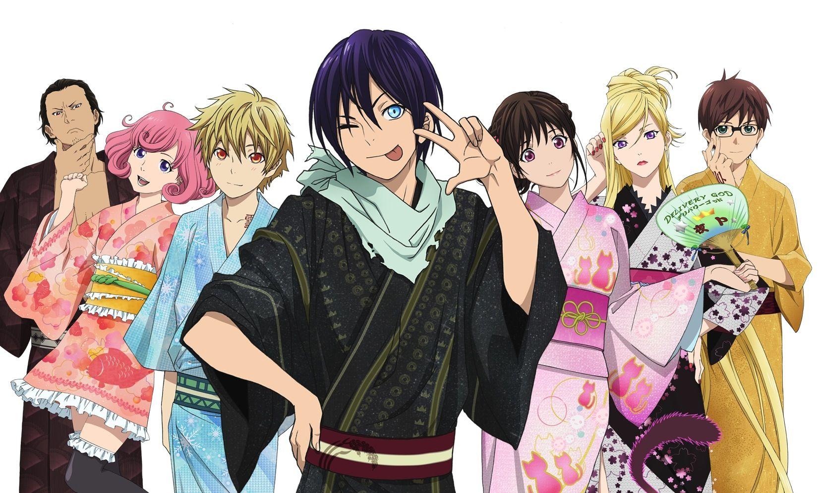 Daikoku, Kofuku, Yukine, Yato, Hiyori, Bishamon and Kazuma