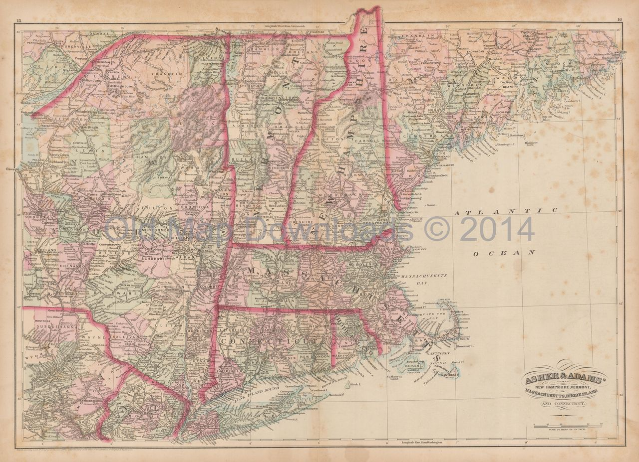 New England Old Map Asher Amp Adams Digital Image Scan