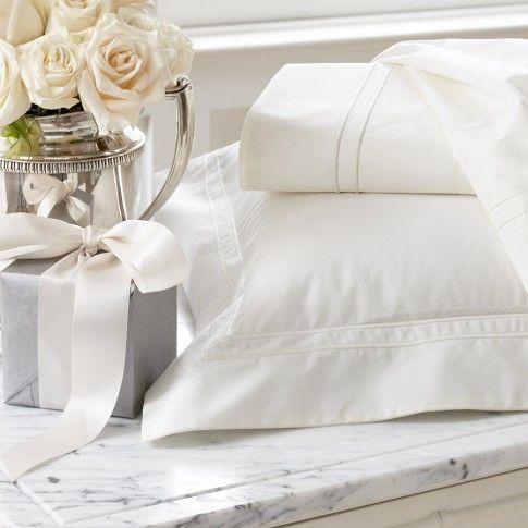 Crisp white linen, roses, and silver~❤