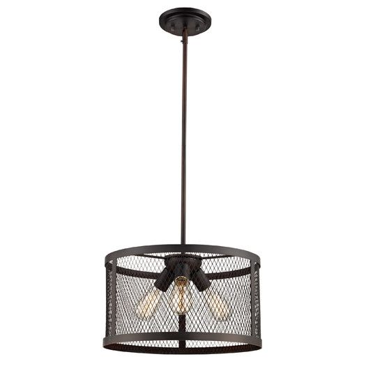 Features:  -Number of lights: 3.  -Can be mounted on a vaulted ceiling.  -Fixture does not contain glass.  Product Type: -Drum pendant.  Number of Lights: -3.  Shade Material: -Metal.  Material: -Meta