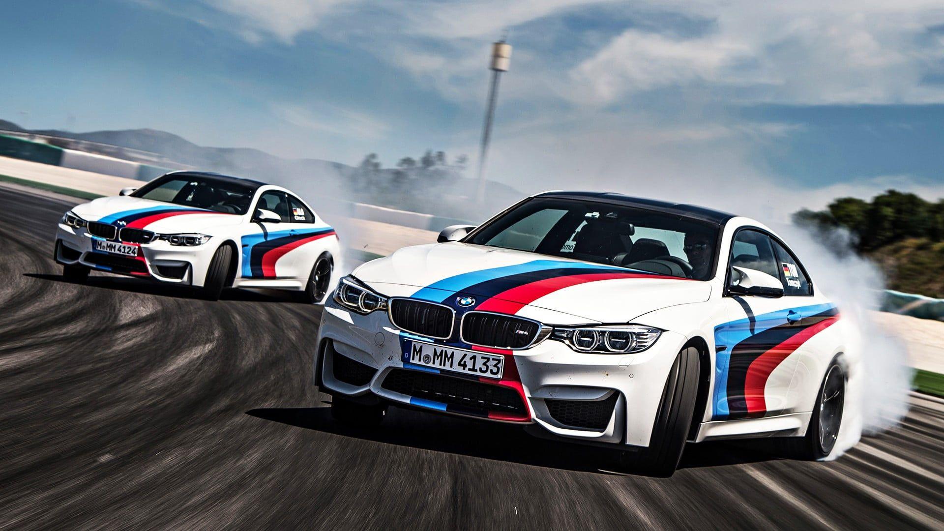 Two White Stock Cars Bmw M4 Car Drift Top Gear Racing 1080p Wallpaper Hdwallpaper Desktop In 2021 Drift Cars Wallpapers Bmw Drift Wallpapers