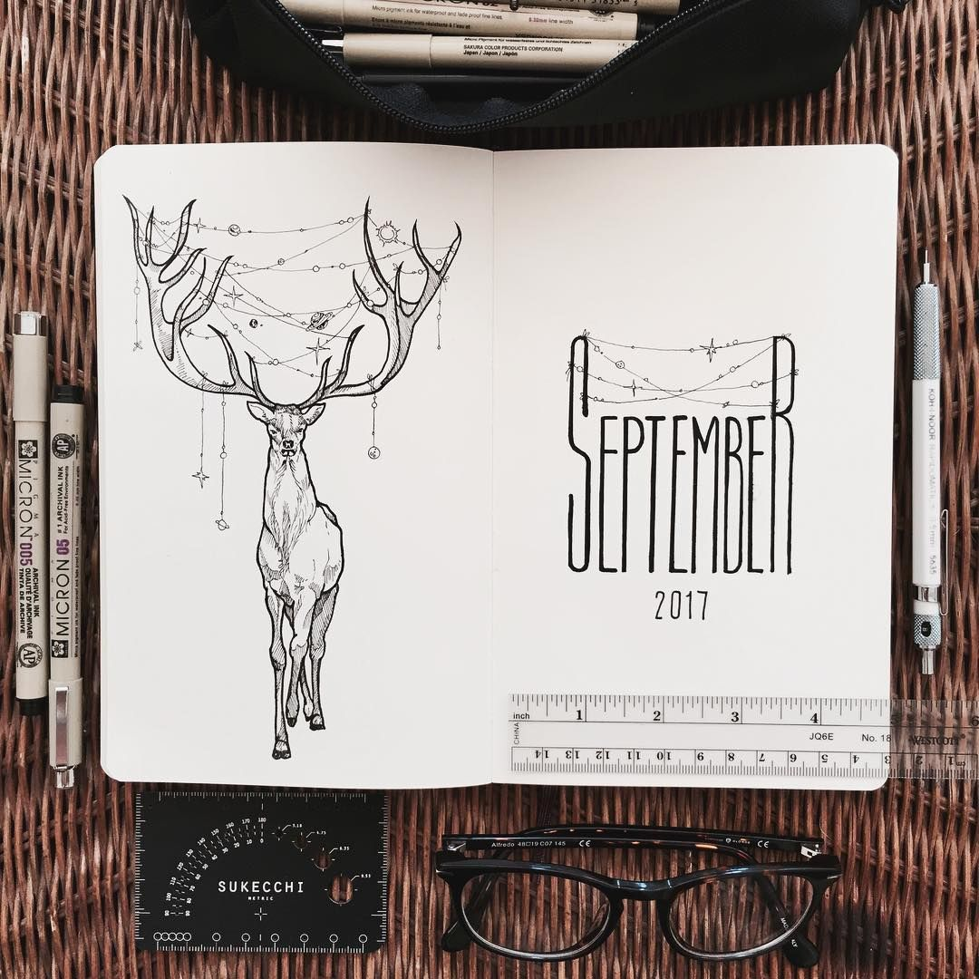 Here is September! August just seems to be flying. So... I love deer. They seem to be so magical. So September's theme is the universe stringed between the antlers of a majestic buck. Future, Monthly, and daily spread soon to follow! #bulletjournal #bulletjournaling #bulletjournallove #bulletjournaladdicts #bulletjournaljunkies #allthingsfall #universe #deer #buck #antlers #magical #sketchbookmagazine #sketchbook #sketch #draw #drawing #inkdrawing #september #bujo #allthingsbujo #bujoju... #augustbulletjournal