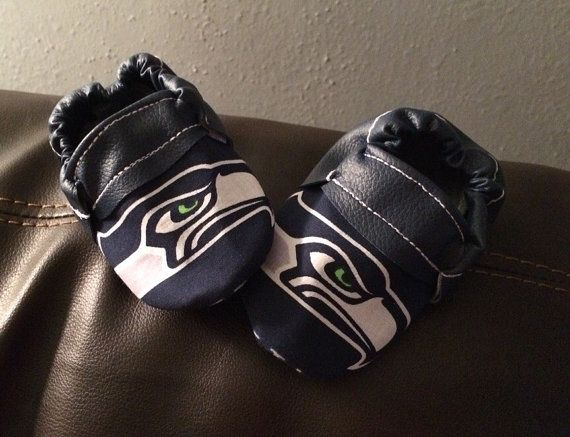 Seattle Seahawk Football Handmade Baby Moccasins (child moccasins, infant moccasins, baby slippers, baby booties, affordable