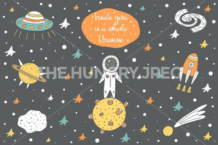 Cute hand drawn doodle cosmic objects collection including spaceman, planets…