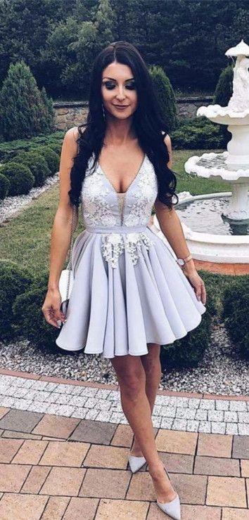 222aaf67033 Cute Gray Lace V Neck Short Prom Dress