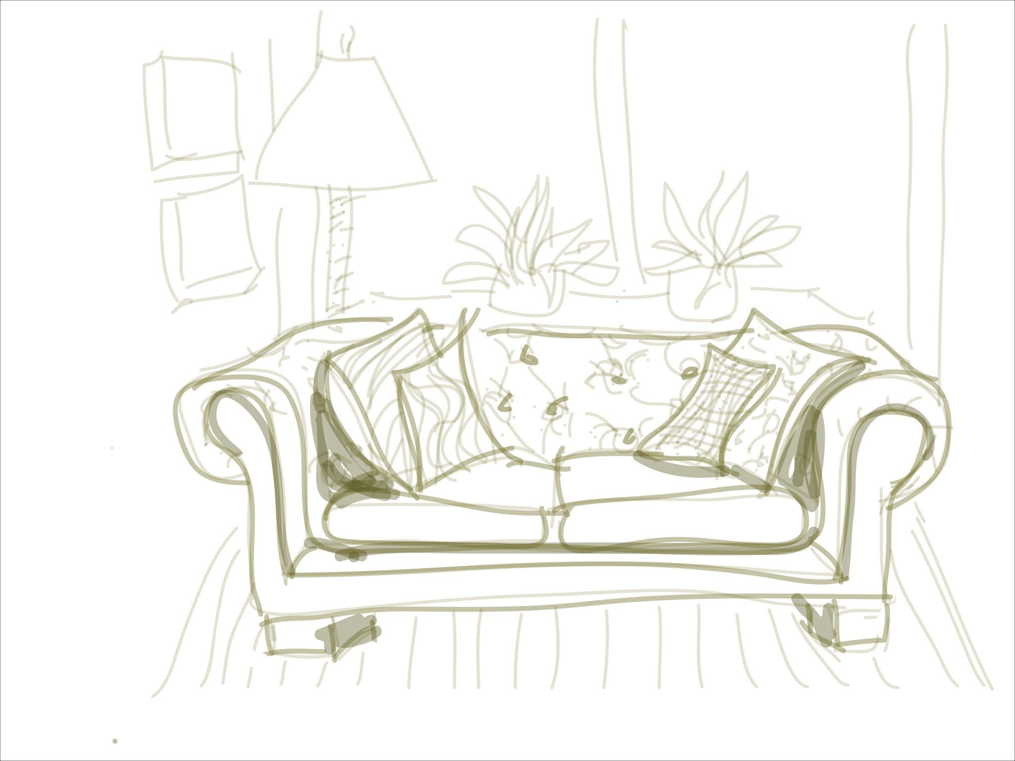 Couch Drawing steps to sofa drawing on ipad. | ipad drawings | pinterest