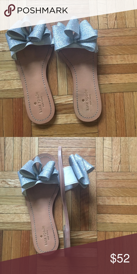 Kate Spade glitter bow sandals Worn once! So fun for a bride to be! kate spade Shoes Sandals