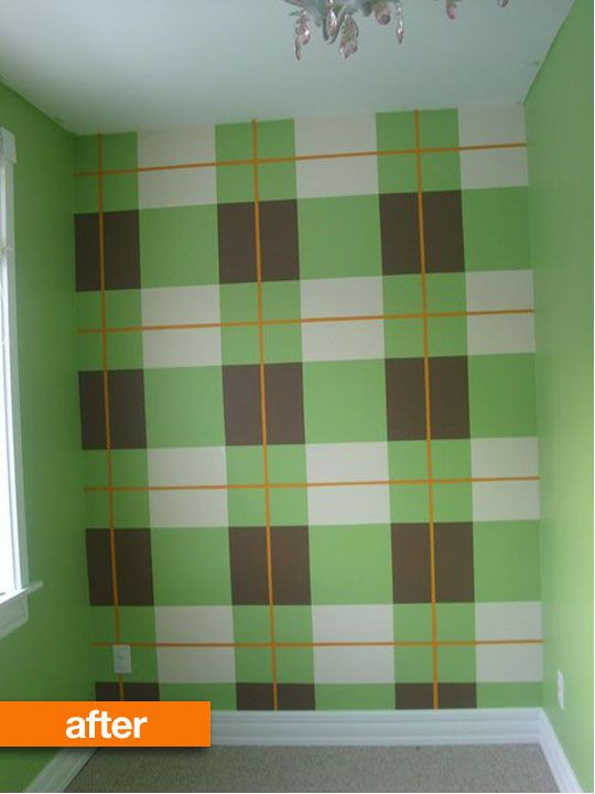Before After Plain Walls Go Plaid Kitchen Decor Wall Art Wall Diy Wall Interior painting preparation for room