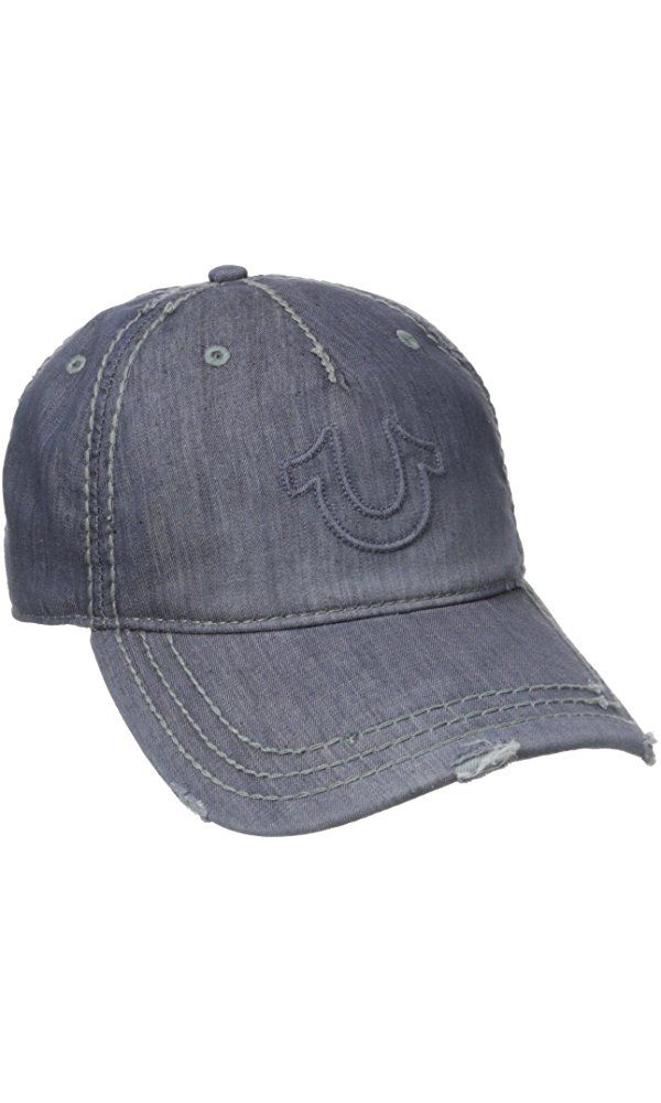 61887219cf0 True Religion Men s Distressed Horseshoe Baseball Cap