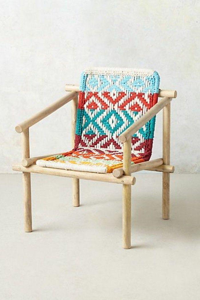 salon de jardin tressé, voici une jolie chaise en bois clair et ...