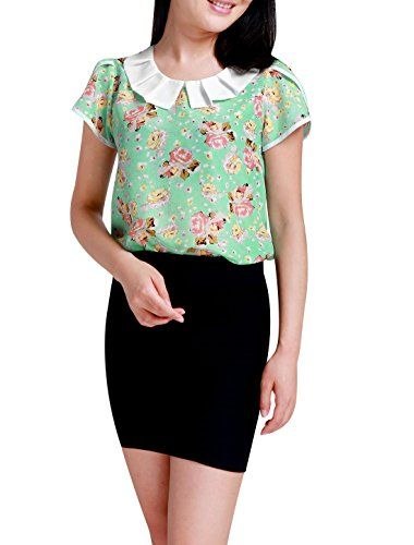 ba0fbd7bd5abb2 Allegra K Women Doll Collar Floral Print Petal Sleeve Summer Blouse S Mint  Pink *** More info could be found at the image url.(It is Amazon affiliate  link) ...