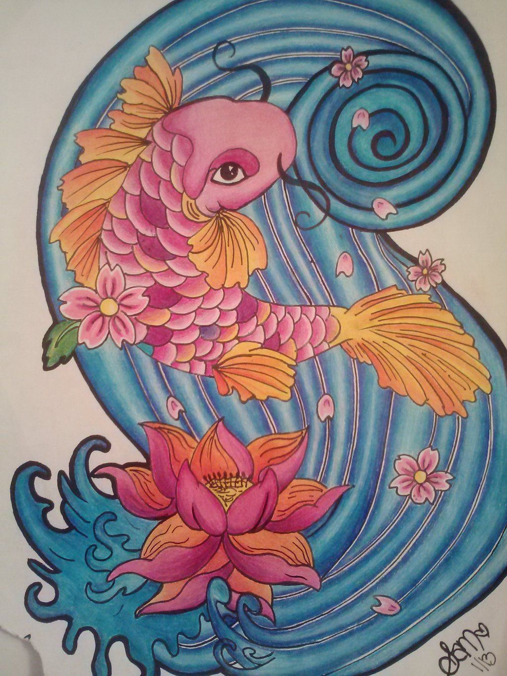 Koi Fish And Lotus Flower By Samanthalyn1 Tattoos Pinterest