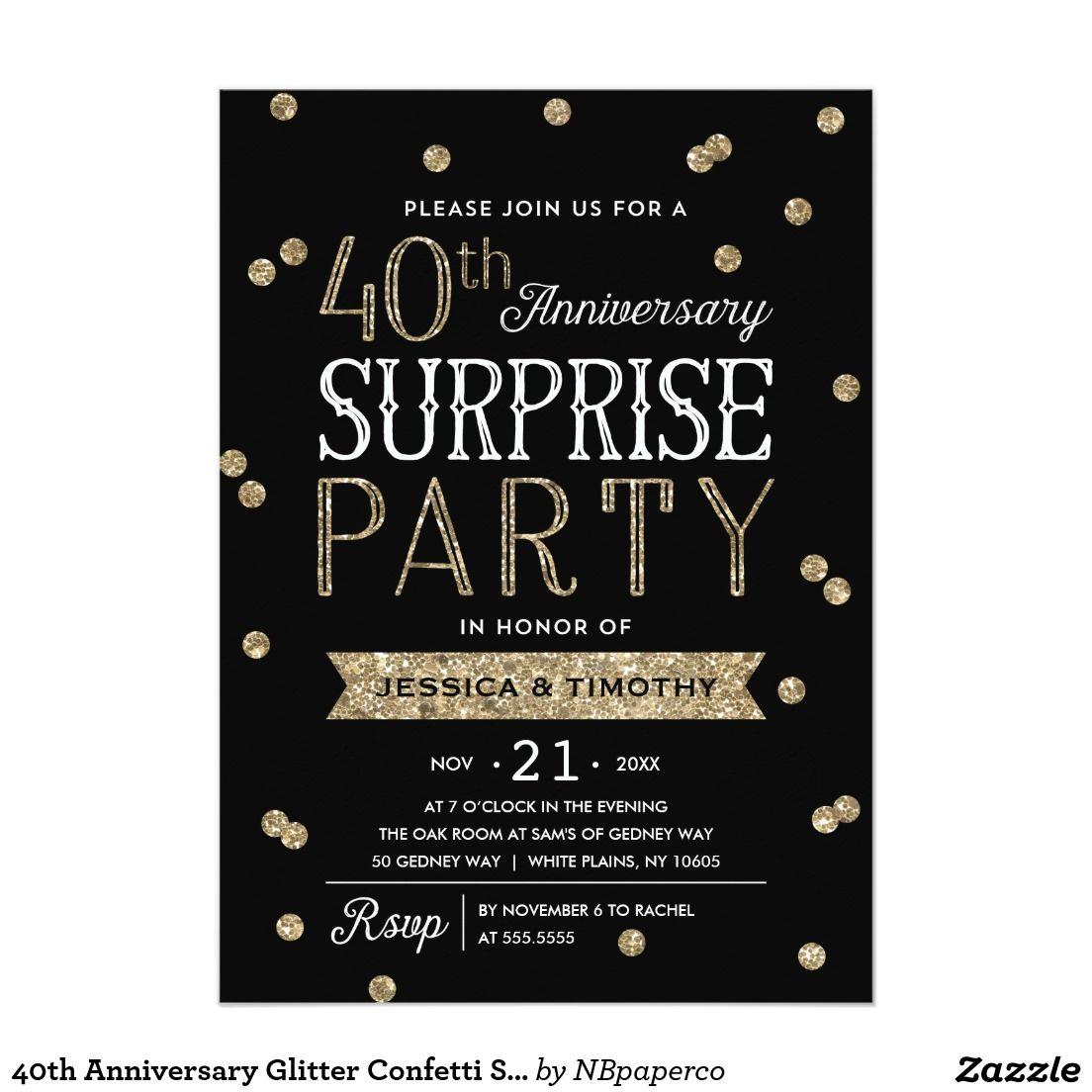 40th Anniversary Glitter Confetti Surprise Party Card   Glitter ...