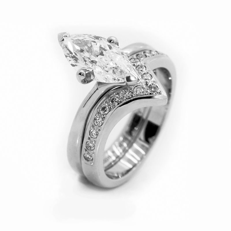 Shaped Diamond Set Wedding Ring Created To Contour Around A 1ct Marquise Solitaire Engagement