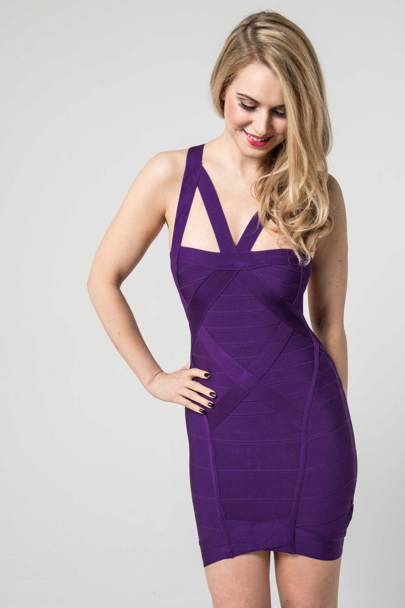 Aurora\' Purple Peephole Strap Detail Bandage Dress | Pinterest