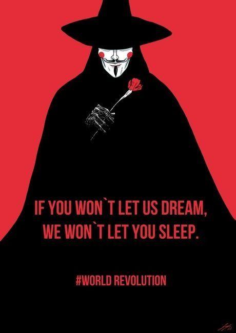 """V de Vingança é uma série de HQs escrita por Alan Moore (1982 e 1983). A estória se passa em um distópico futuro de 1997 no Reino Unido, em que um misterioso Revolucionário que usa uma máscara inspirada em *Guy Fawkes tenta destruir o Estado, através de ações diretas.  Guy Fawkes foi um soldado inglês que teve participação na """"Conspiração da pólvora"""" na qual se pretendia assassinar o rei Jaime VI & I da Inglaterra e todos os membros do parlamento durante uma sessão em 1605."""