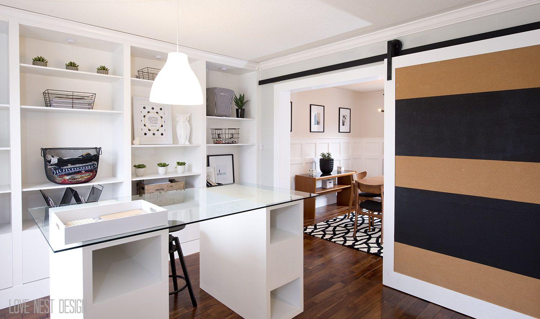 Very nice home office black u beige sliding door and full wall of
