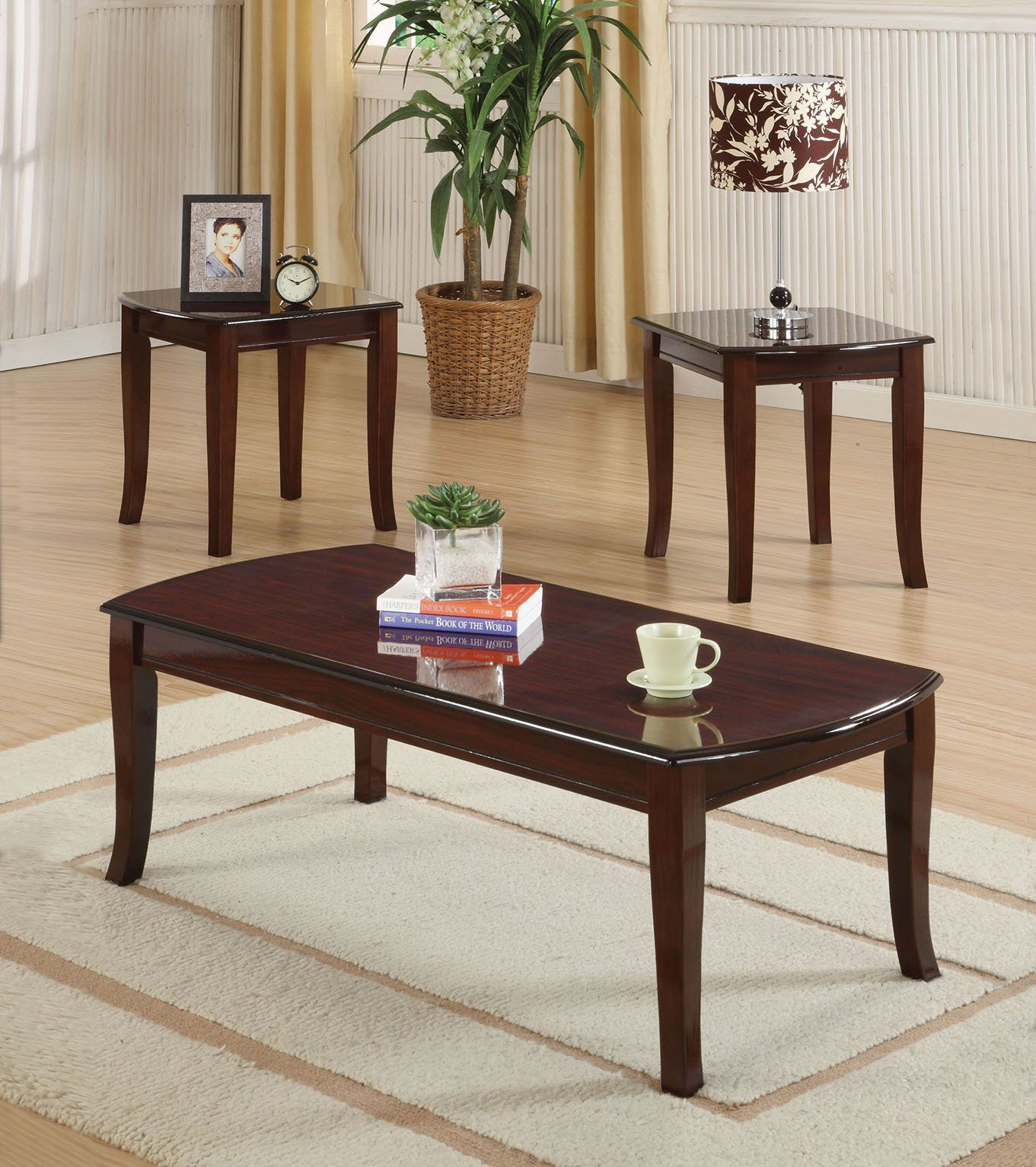 ACME Camarillo 3Pc Pack Coffee End Table Set Cherry
